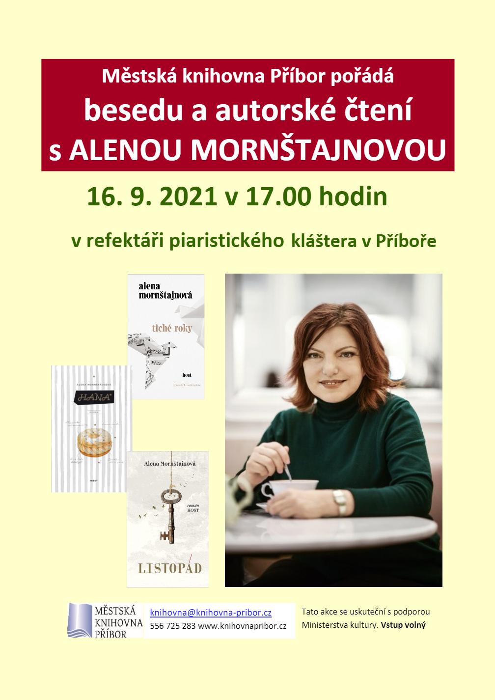 Beseda a autorské čtení s Alenou Mornštajnovou