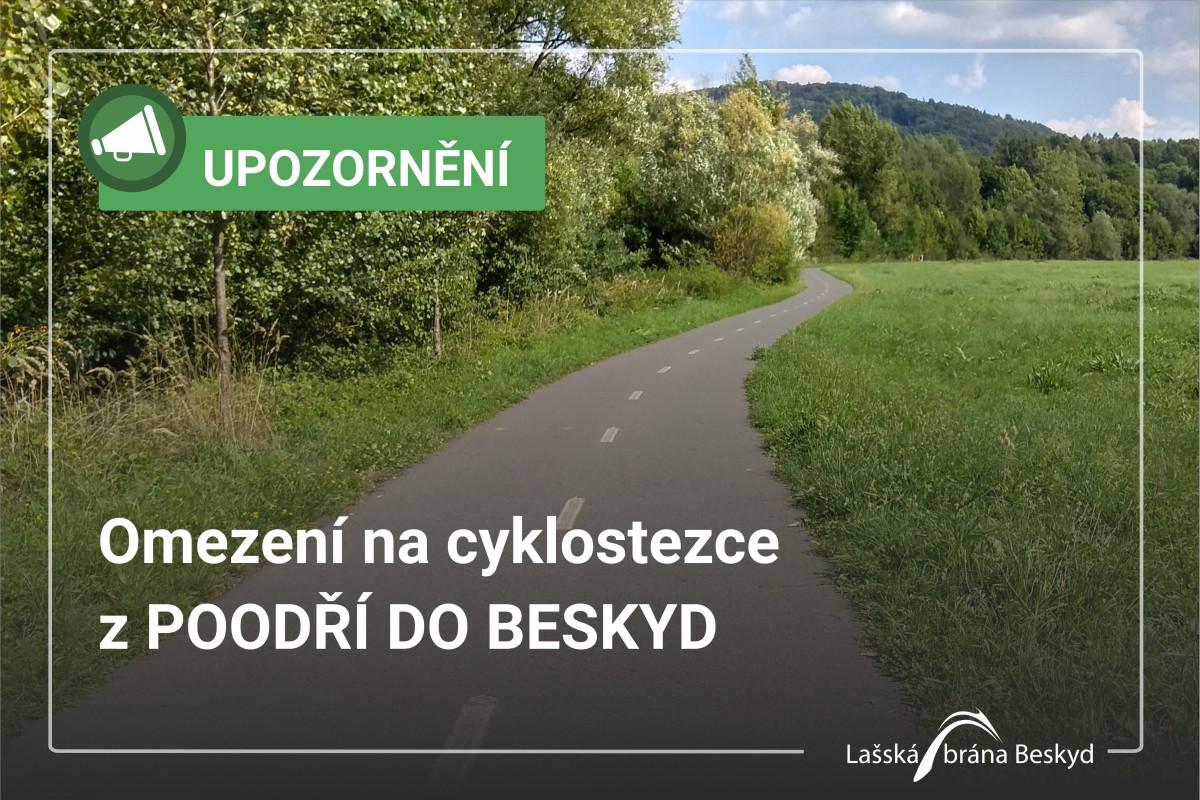 Omezení na cyklostezce z Poodoří do Beskyd pří výstavbě kanalizace