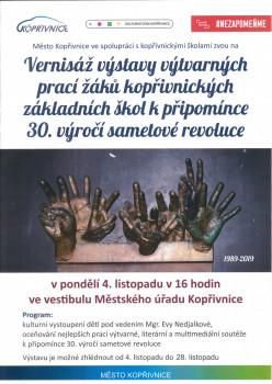 Výtvarné práce žáků kopřivnických základních škol k připomínce 30. výročí sametové revoluce