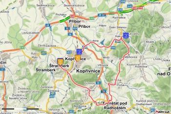 3. trasa - z Kopřivnice přes Hukvaldy a Frenštát (29 km)